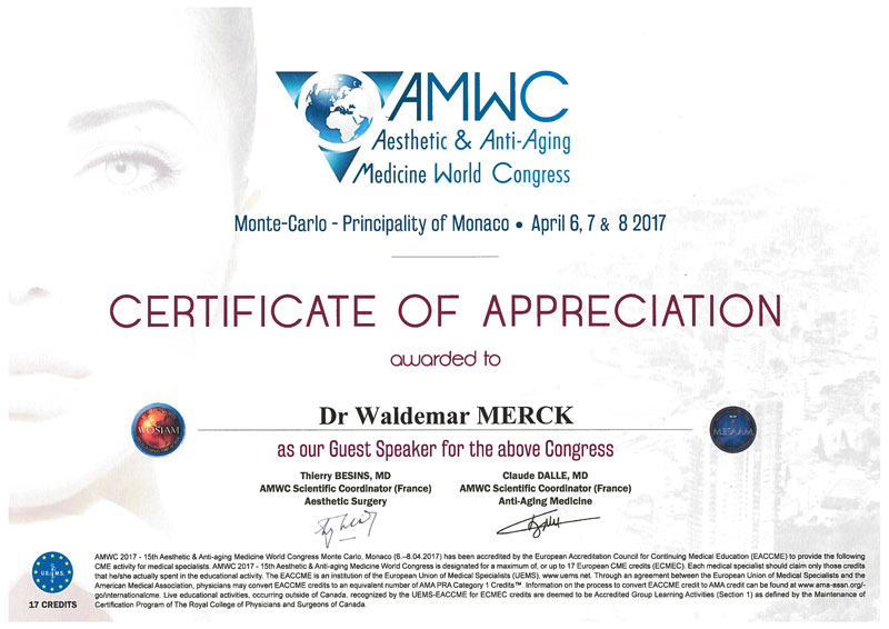 AMWC Aesthetic & Anti-Aging Medicine World Congress - Certificate of Appreciation